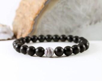 Custom Onyx Bracelet with Botswana Agate - Black Stone Bracelet - Black Onyx Bracelet - Black Bracelet - Banded Agate Bracelet - Men's