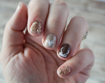 Deer Head Nail Stickers / Decals