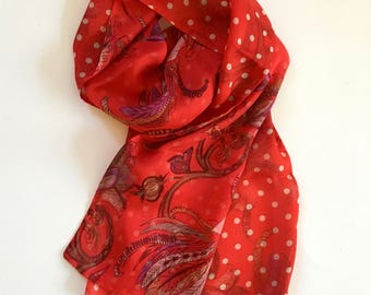 Silk Scarf double-sided chiffon in red floral print with red and cream polkadot backing