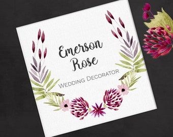 Printed Personalized Square Business Card, Custom Square Business Card, Calling Card, Contact Card, Pink and Red Laurel