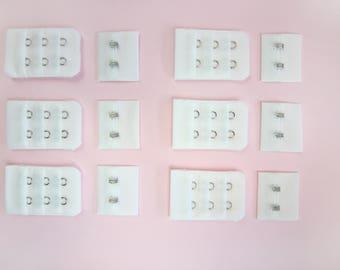 1, 2 or 6 x Ivory Bra Hook & Eye Bra Closure - 2 rows