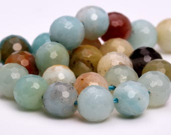 "8MM Faceted Amazonite Natural Gemstone Half Strand Round Loose Beads 7.5"" (100883h-318)"