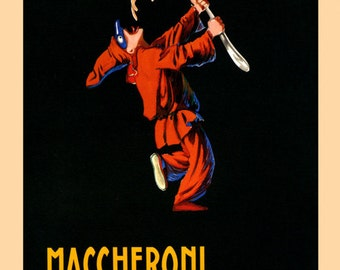 Food Spaghetti Pasta  Maccheroni Pianigiani Italy Italia Italian Kitchen Art Vintage Poster Repro FREE SHIPPING in USA