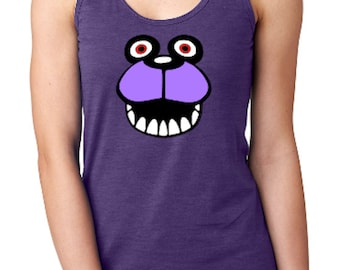 Bonnie the Bunny Face Five Nights At Freddys Cosplay Parody Ladies Racerback Tank Top * Sizes XS - 2XL  * FNAF * 5NAF * Freddies * Fazbear