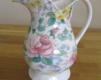 vintage st george fine bone china jug, floral jug , pitcher ref 6
