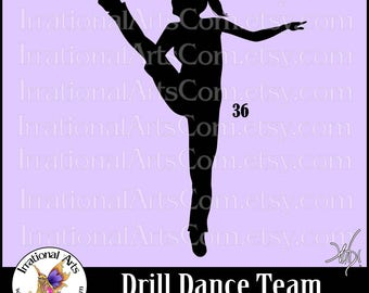 Drill Dance Team Silhouettes Pose 36 - 1 EPS & SVG Vinyl Ready files and 1 PNG digital file and commercial license [Instant Download]