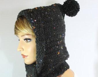 Hooded Scarf, hooded scarves, crochet scoodie, scoodie, scoodie scarf, crochet hooded scarf, scarf with hood, hoodie scarf, black hood