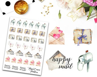 Happy Mail Icon Planner Stickers for Erin Condren Planner/ Happy Planner/Personal Planner/Travelers Notebook/Functional Sticker Kit/Icons