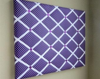 Purple & White Mini Dot 16x20 Memory Board, Bow Board, Bow Holder, Photograph Holder, Business Card Holder, Ribbon Board, Vision Board