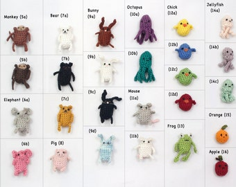 Create Your Own Miniature Crochet Amigurumi Critter Magnet Set of Four Miniature Crochet Magnets Miniature Crochet Animals Crochet Keychain