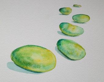Original watercolor painting stones,green,wall decor
