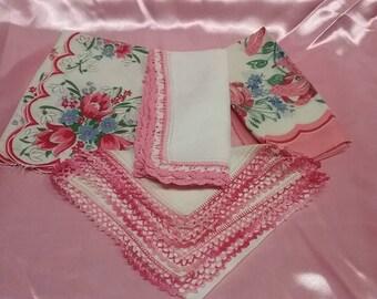 4 Vintage Handkerchiefs in rose color