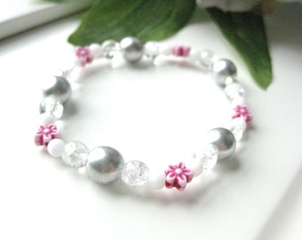 Girls Bracelet, Pink Flowers with silver beads, Large Bracelet, GBL 119