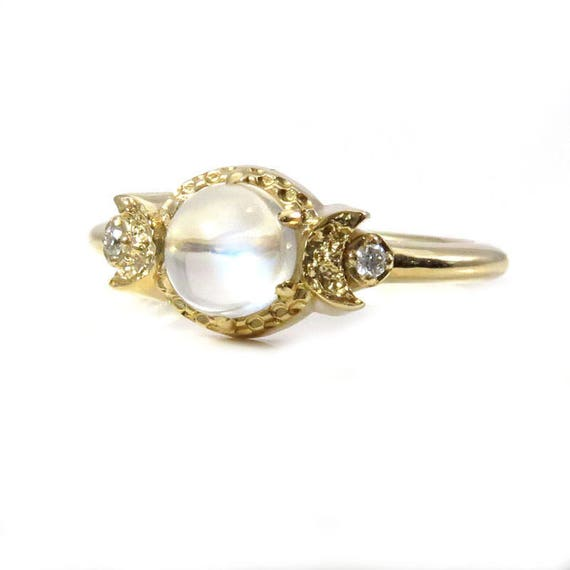 Moonstone and Diamond Crescent Moon Engagement Ring - 14k Yellow Gold