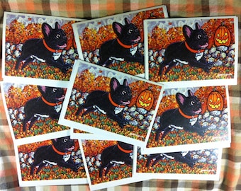 French Bulldog and Jack O' Lantern Halloween Greeting Card Set by Mister Reusch