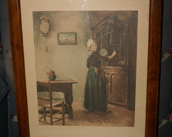 VINTAGE DUTCH WOMAN Framed Print, Antique Oak Frame