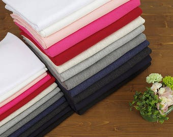 Cotton French Terry Knit Fabric, Stretchy Fabric - 12 Solid Colors - By the Yard 102533