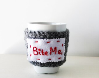 Bite me cup cozy, Crochet mug warmer, Personalized cup cozy, customizable cup cozy, Vampire cup cozy, Funny cup cozy, Quote mug, Quote cup