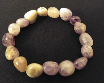 AMETHYST Genuine Natural Tumbled Gemstone Stone Stretch Bracelet INNER PEACE & Protection