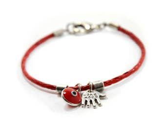 Red Braided Leather Bracelet with Hamsa and Evil Eye Charm