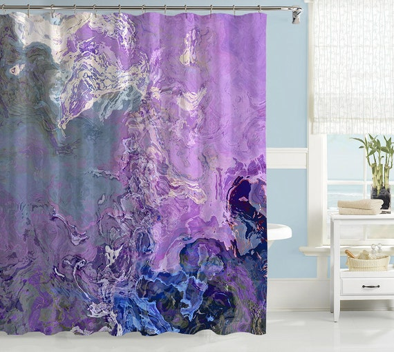 Abstract Shower Curtain Contemporary Bathroom Decor Lavender