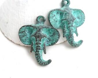 Elephant Head pendant bead, Green Patina, Verdigris, Elephant charm, jewelry making - 2Pc - F580