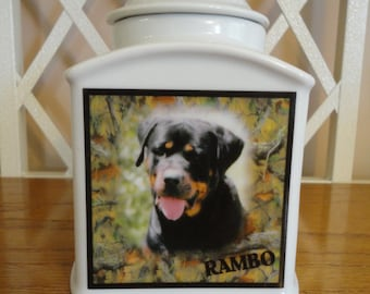"Dog Urn, Pet Urn, Memorial ""Personalized"", Cat, Pet, Photo Urn, Add Photo, Poem, Clipart, Name, Dates, Sentiment"