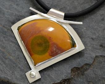 """Sterling silver modern jasper pendant necklace.  """"Bullseye"""""""