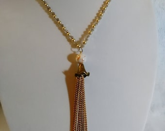 Gold and crystal tassel necklace