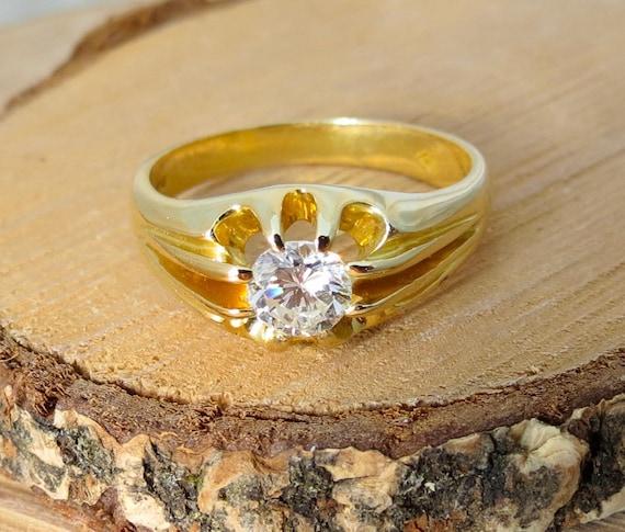 18K yellow gold 2/3 carat diamond solitaire ring