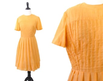 1950's Cotton Fit and Flare Day Dress - Size M
