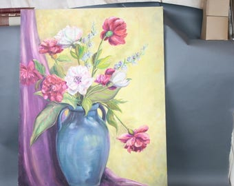Oil Painting on Canvas Still Life Flowers in Vase Pink White Peonies Lavender Hanging Drape Blue Vase Bright Colorful Cottage Chic
