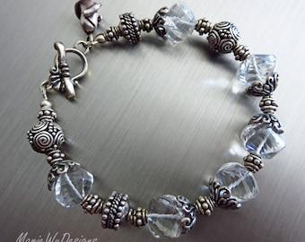 Crystal Quartz Spirals-Ornate Bali Silver Toggle Bracelet with  Rosebud Charm