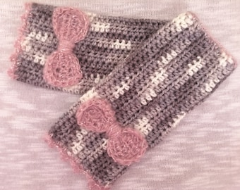 Pink & Gray Wrist warmers, texting mitts, fingerless mitts, mittens, winter accessory