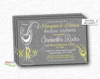 Printed or Printable Bridal Shower Invitations | Monograms & Mimosas wedding Shower invite | Yellow Gray Invites | Monogram invitaiton