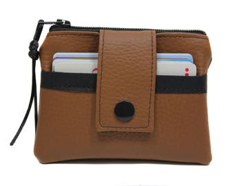 Coin purse / wallet in faux brown leather man woman