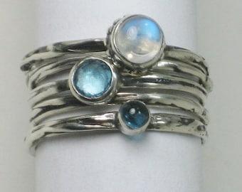 Twig Rings, Blue Topaz, Moonstone, London Blue Topaz, Sterling Silver, 5 Ring Set