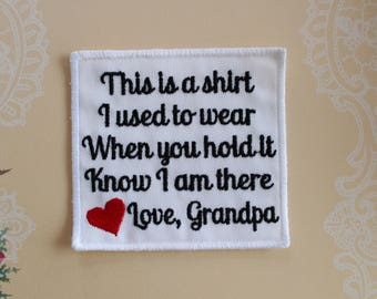Memory Pillow Applique Patch. Shirt I Used To Wear, Generic heart, In memory of Poem, Embroidered, Square shape, Canada, MPS2