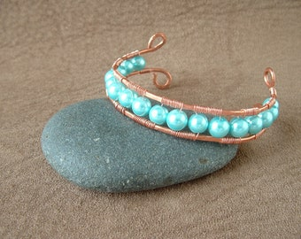 Wire Wrapped Bracelet with Blue Opaque Pearl Beads
