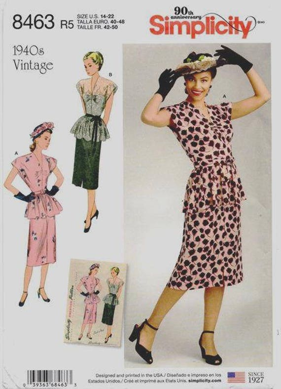 Mid-Century 1940\'s Reissue Two Piece Dress Retro Sewing Pattern ...