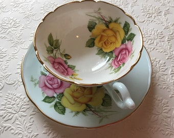 1950's Vintage Robin's Egg blue Teacup with Yellow and Punk Cabbage Roses by Heathcote England