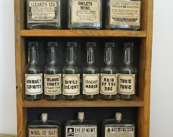 Halloween Potions display, unique party decor, witch spell bottles, apothecary curiosities, bar