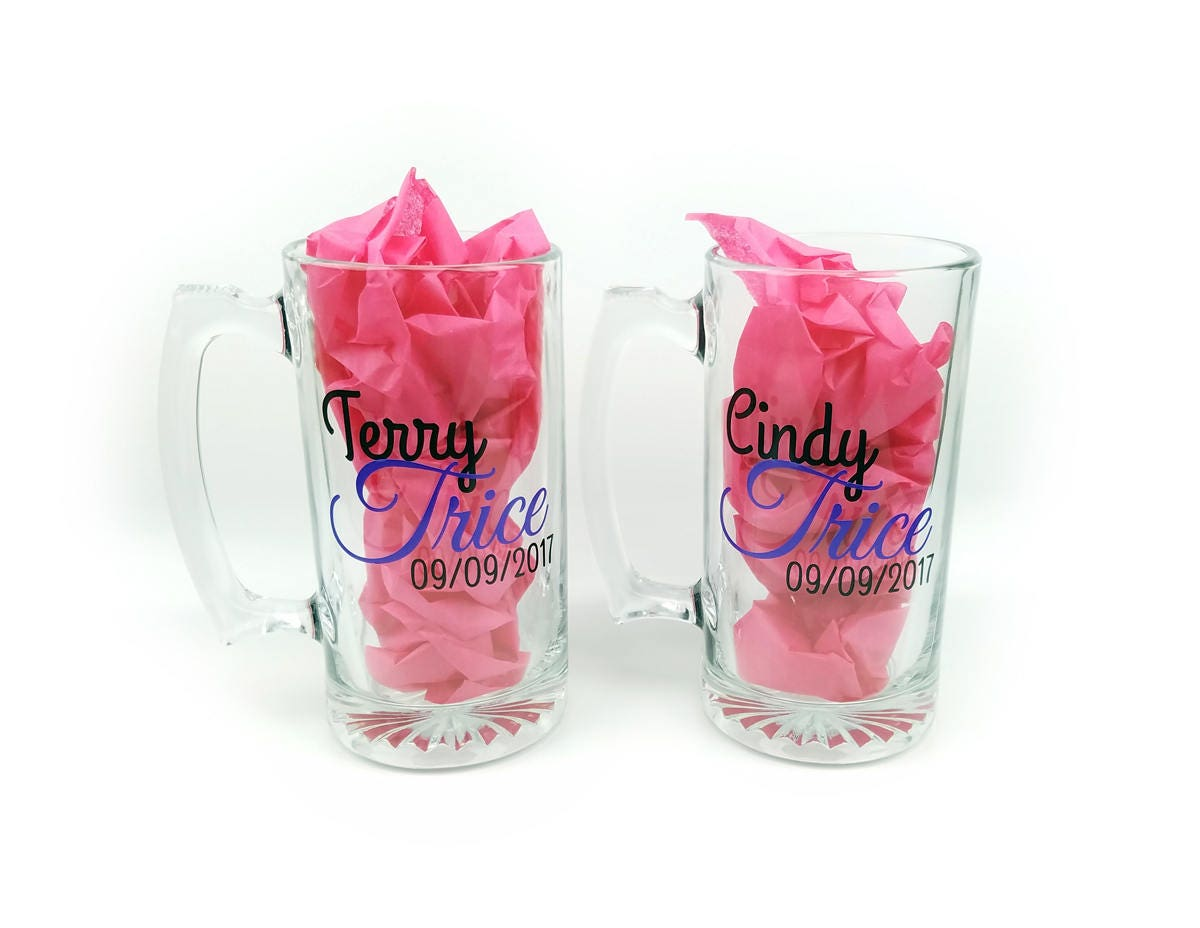 Personalized beer mug pair- bride and groom glasses - wedding toast ...