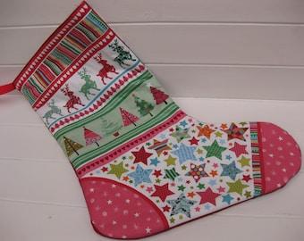 Christmas stocking/fabric stocking/Scandinavian stocking/quilted Christmas stocking