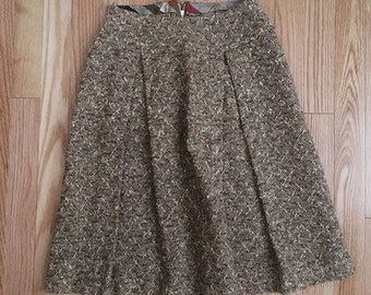 Vintage 1960s A-line brown tweed skirt sz small
