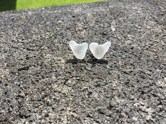 Surf Tumbled, Heart Shaped, White Frosted Seaglass Stud Earrings