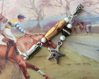 Pendant country western - dance online - Sheriff star and cowboy boot - mother of Pearl Heart Fawn, Pearl wood, mother of Pearl
