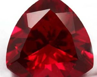 One AAA Rated Find Trillion Faceted Lab Created Ruby Corundum Flame Fusion Synthetic Loose Gemstone Sizes 3mm-18mm