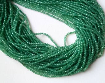 Green Onyx Faceted Rondelle Beads, 2-2.5mm Natural Green Onyx Beads, 13 Inch Green Onyx Necklace, Emerald Green Beads - NT47