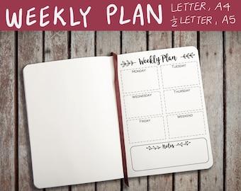 PRINTABLE BULLET JOURNAL inserts, weekly journal, journal printable, a4, a5, letter, half letter, pdf, jpg, printable, weekly plan